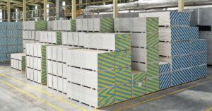 Knauf plasterboard products stacked in warehouse