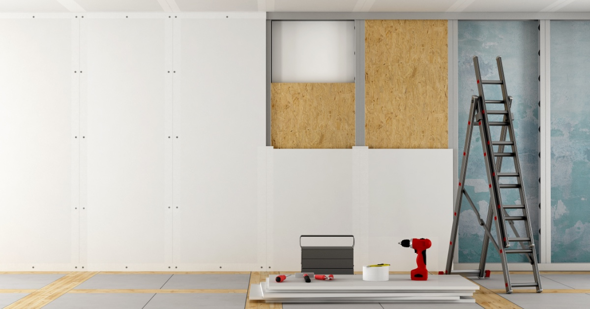 Drywall panels in a building under construction